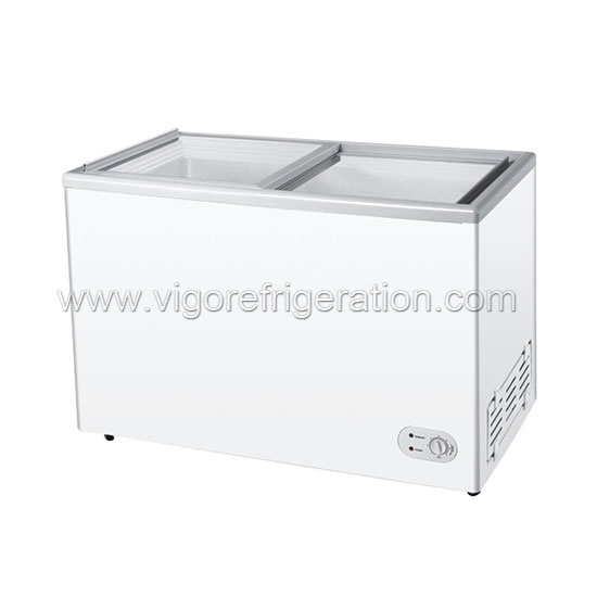 260L high quality flat glass door freezer for ice cream