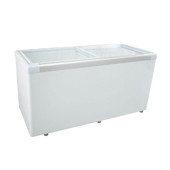 510L sliding door freezer with beautiful aluminium door frame