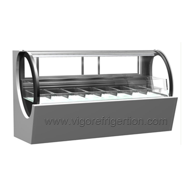 New gelato ice cream display freezer