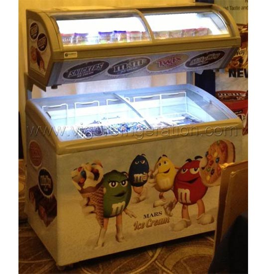 ice cream showcase freezer on metal support