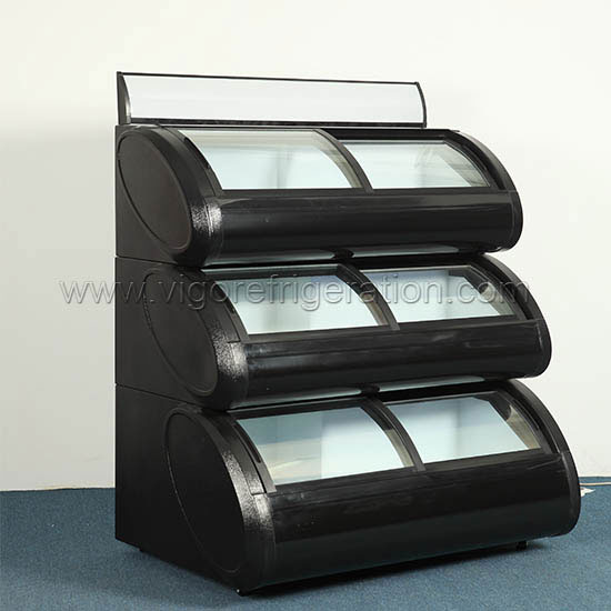 three tier oval display freezer